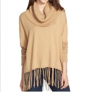 MICHAEL KORS Tan Fringed Cowl Neck Sweater Sz S